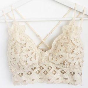 Other - Cream Crochet Scallop Lace Double Strap Bralette